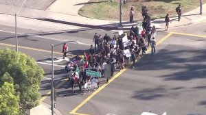 A group of LAUSD students participated in a demonstration on Nov. 14, 2016. (Credit: KTLA)