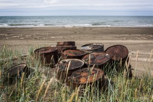 Rusting barrels sit on the beach along the Chukchi Sea on July 7, 2015, in Shishmaref, Alaska. (Credit: Andrew Burton/Getty Images)