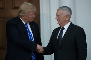 President-elect Donald Trump shakes hands with retired U.S. Marine Corps Gen. James Mattis after their meeting at Trump International Golf Club, Nov. 19, 2016, in Bedminster Township, New Jersey. (Credit: Drew Angerer/Getty Images)