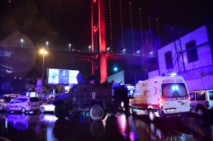 Turkish special force police officers and ambulances are seen at the site of an armed attack Jan. 1, 2017, in Istanbul. (Credit: Yasin Akgul / AFP / Getty Images)