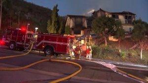 A Glendale home was destroyed in a fire on Dec. 19, 2016. (Credit: KTLA)