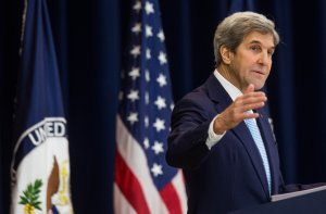 U.S. Secretary of State John Kerry delivers a speech on Middle East peace at the U.S. Department of State on December 28, 2016 in Washington, DC. (Credit: Zach Gibson/Getty Images)