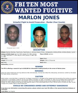 "The FBI's flier for Marlon Jones' addition on Dec. 1, 2016, to the ""Ten Most Wanted Fugitives"" list."