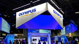The showcase for Olympus products on the exhibit floor at the Digestive Disease Week conference in Washington, D.C. (Credit: Chad Terhune/Los Angeles Times)