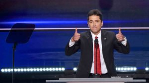 Actor Scott Baio speaks on the first day of the Republican National Convention on July 18, 2016 at the Quicken Loans Arena in Cleveland. (Credit: ROBYN BECK/AFP/Getty Images)