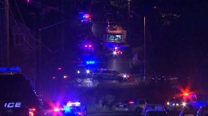 Authorities respond to a standoff in Tacoma, Washington in an image provided by CNN.
