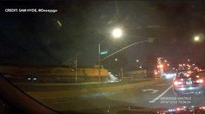 A train crashed into a car in Santa Fe Springs on Dec. 22, 2106. (Credit: Sam Hyde/@Deeayygo)