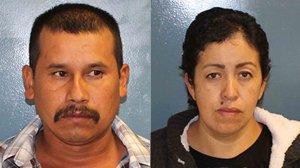 Francisco Yanes Valdivia, left, and Rosalina Lopez, right, were arrested on suspicion of murder in the suspected killing of Cecilia Bravo Cabrera, authorities said. (Credit: Tulare County Sheriff's Office)