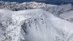 Snow-covered Mount Baldy is shown after two men were rescued following an avalanche on Jan. 26, 2017. (Credit: KTLA)