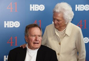 Film Subject President George H.W. Bush and his wife, Mrs. Barbara Bush attend the HBO Documentary special screening of '41' on June 12, 2012 in Kennebunkport, Maine. (Credit: Michael Loccisano/Getty Images for HBO)