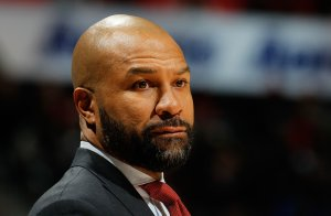 Derek Fisher of the New York Knicks looks on during the game against the Atlanta Hawks at Philips Arena on January 5, 2016 in Atlanta, Georgia. (Credit: Kevin C. Cox/Getty Images)