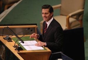 President of Mexico Enrique Pena Nieto addresses the United Nations General Assembly on Sept. 20, 2016, in New York City. (Credit: John Moore/Getty Images)