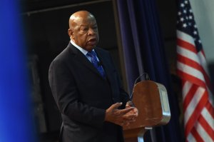 Congressman John Lewis chats with the audience attending Nashville Public Library Award to Civil Rights Icon Congressman John Lewis - Literary Award on Nov. 19, 2016, in Nashville, Tennessee. (Credit: Rick Diamond/Getty Images)
