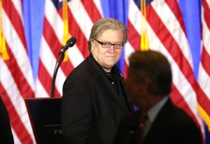 Donald Trump's Chief Strategist Steve Bannon enters a news conference at Trump Tower on January 11, 2017 in New York City. (Credit: Spencer Platt/Getty Images)