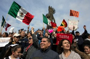 Citizens rally Jan. 15, 2017, to demand the resignation of Mexican President Enrique Pena Nieto, after he did not signal any sign of backpedalling on his decision to increase the price of petrol by up to 20.1 percent, in Tijuana, Mexico. (Credit: GUILLERMO ARIAS/AFP/Getty Images)