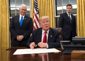 President Donald Trump speaks to the media before signing a confirmation for Defense Secretary James Mattis in the Oval Office at the White House in Washington, D.C. on Jan. 20, 2017. (Credit: Kevin Dietsch - Pool/Getty Images)