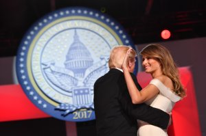 President Donald Trump and First Lady Melania Trump dance at the Freedom Ball on Jan. 20, 2017, in Washington, D.C. (Credit: Kevin Dietsch - Pool / Getty Images)