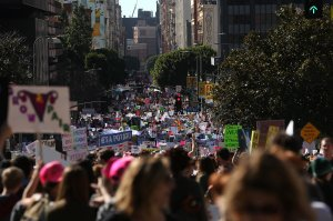 Marchers fill Hill Street during the Women's March on Jan. 21, 2017, in Los Angeles.(Credit: Justin Sullivan / Getty Images)