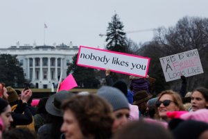 Protesters gather on the Ellipse near the White House to demonstrate against the presidency of Donald Trump Washington, D.C., on Jan. 21, 2017. (Credit: Dominick Reuter / AFP / Getty Images)