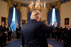 U.S. President Donald Trump speaks during an Inaugural Law Enforcement Officers and First Responders Reception in the Blue Room of the White House on Jan. 22, 2017, in Washington, DC. (Credit: Andrew Harrer-Pool/Getty Images)