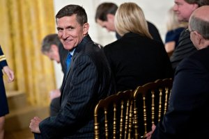 Retired Lt. Gen. Michael Flynn, U.S. national security advisor, attends a swearing-in ceremony of White House senior staff in the East Room of the White House on Jan. 22, 2017. (Credit: Andrew Harrer-Pool/Getty Images)