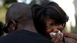 Tritobia Ford, the mother of Ezell Ford, a mentally ill man who was shot and killed by Los Angeles police in 2014, breaks down during a 2016 protest. (Credit: Callaghan O'Hare / Los Angeles Times)