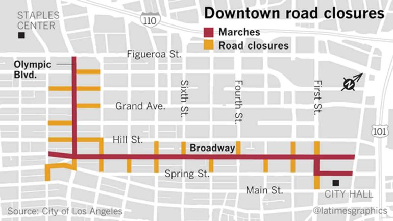 A number of roads will be closed for Friday's activity in downtown L.A. (Credit: Los Angeles Times)
