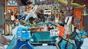A painting by a student that depicted a police officer as an animal had hung on a Capitol Hill wall for months before it was removed by Rep. Duncan Hunter (R-Alpine) following recent complaints that it was offensive. (Credit: Congressional Art Competition)