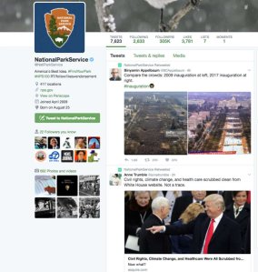 A screenshot of the National Park Service's Twitter account before the offending tweets were removed.
