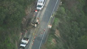 Storm damage, which prompted the closure of the Ortega Highway, is seen in this image from Sky5 on Jan. 26, 2017.