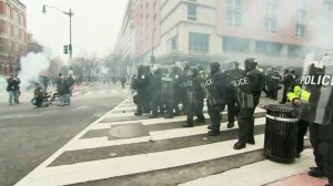Police clashed with protesters following Donald Trump's inauguration in Washington D.C. on Jan. 20, 2017. (Credit: CNN)