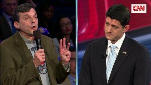 Cancer patient Jeff Jeans talks to House Speaker Paul Ryan during a town hall. (Credit: CNN)