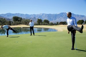 President Obama reacts as his putt falls just short during an impromptu hole of golf with staffers Joe Paulsen, left, and Marvin Nicholson after the U.S.-ASEAN Summit at the Annenberg Retreat at Sunnylands in Rancho Mirage, Calif., on Feb. 16, 2016. (Credit: Pete Souza/White House Photo)