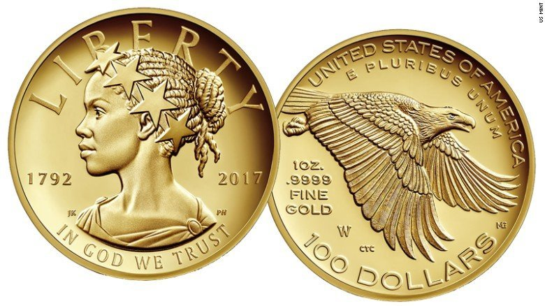 The U.S. Mint provided this photo of the 2017 American Liberty Gold Ultra High Relief when the $100 coin was released, Jan. 12, 2017.