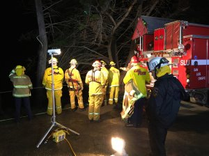 Cal Trans and fire officials were at the scene of a car that went off a cliff along Highway 1 in San Luis Obispo on Jan. 3, 2017. (Credit: Scott Wheeler/KCOY photos)