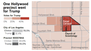 An East Hollywood precinct that went for Trump in the November 2016 election is shown. (Credit: Los Angeles Times)