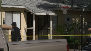 A woman was fatally stabbed at a home in San Fernando, shown, on Jan. 19, 2017. (Credit: KTLA)