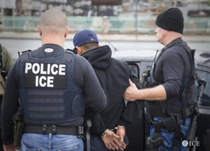 U.S. Immigration and Customs Enforcement released a photo on Feb. 10, 2017, of its officers arresting an unidentified foreign national the day before.