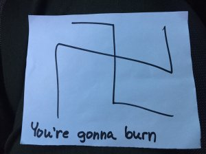 An anti-Semitic note left at a home in Oak Park is shown in a photo released by the Ventura County Sheriff's Office on Feb. 15, 2017.