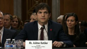 Actor Ashton Kutcher testified before A U.S. Senate committee in a hearing on progress in combating modern slavery on Feb. 15, 2017. (Credit: CNN)