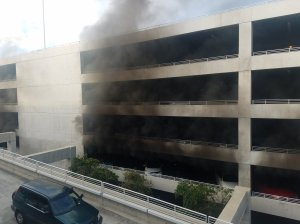 A fire broke out in a parking structure at Disneyland on Feb. 13, 2017. (Credit: Twitter user @maddsnicole21)