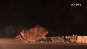 A boulder blocked a portion of Pacific Coast Highway near Point Mugu on Feb. 8, 2017. (Credit: VCNews)