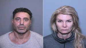 Fadi Chaiban, left, and Tina Saunders are shown in booking photos released Feb. 2, 2017, by the Orange County District Attorney's Office.