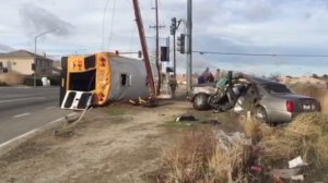 A school bus overturned following a crash in Lancaster on Feb. 7, 2017. (Credit: Ed Frommer)