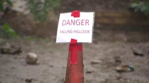 A sign marks a mudslide area in Camarillo Springs on Feb. 17, 2017. (Credit: KTLA)