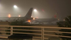 Dense fog causes flight delays at LAX on Feb. 9, 2017. (Credit: KTLA)