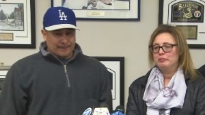 Sergio Rodriguez and Paola Mascorro, parents of Elias Rodriguez, speak during a news conference on Feb. 21, 2017. (Credit: KTLA)