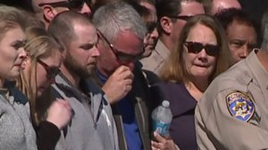 Relatives mourn Lucas Chellew at a bell toll ceremony at the CHP Academy on Feb. 23, 2017. (Credit: KTXL)