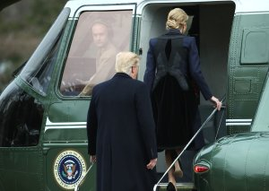 U.S. President Donald Trump and his daughter Ivanka Trump walk toward Marine One while departing from the White House, on Feb. 1, 2017, en route to Dover Air Force Base. (Credit: Mark Wilson/Getty Images)