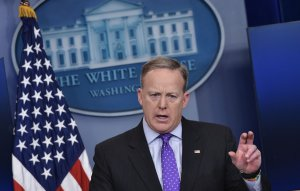 White House Press Secretary Sean Spicer speaks during the daily briefing in the Brady Briefing Room of the White House on February 8, 2017 in Washington, DC. (Credit: MANDEL NGAN/AFP/Getty Images)